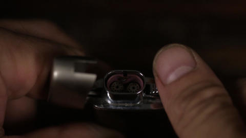 Close-up, ignite turbo lighter with double flames ビデオ