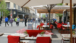 Budapest. Restaurant in city center and strolling tourists Footage
