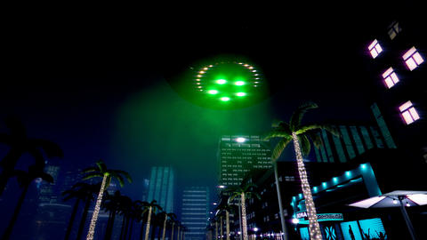 UFO is flying over the night city 애니메이션