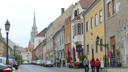 Charming street in Budapest leading toTrinity Square and to Matthias Church Footage