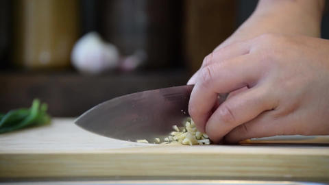 Chopping chives food fresh Stock Video Footage