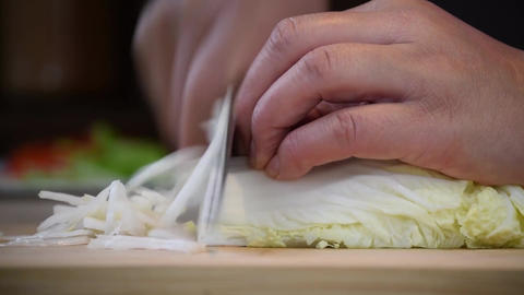 Slice chinese cabbage food cuisine Footage