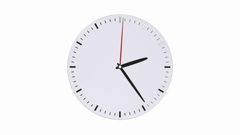 Round clock face without numbers on white background Animation
