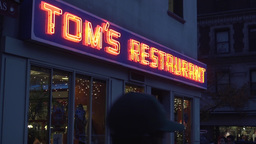 Tom's Restaurant Marquee Establishing Shot Night Footage