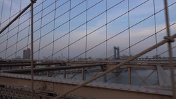 POV Walking Over Brooklyn Bridge Footage