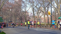 Central Park Marathon Runners stock footage