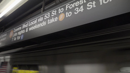 Subway F-Train Approaches Subway Station Footage