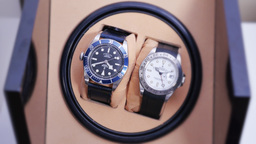 Two Luxury Watches Spin in Automated Winder Footage