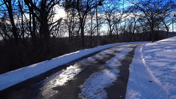 POV Walking On Icy Sidewalk Footage