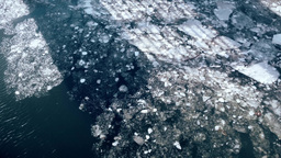 High Angle Ice Jam On Ocean stock footage