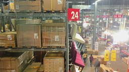 Shoppers at Big Box Furniture Store Stock Video Footage