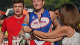 Racers Get Cooled Off while Running in the LA Marathon Footage