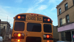 Looping School Bus Flashing Red Lights stock footage