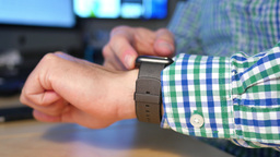 Businessman Uses Smart Watch stock footage