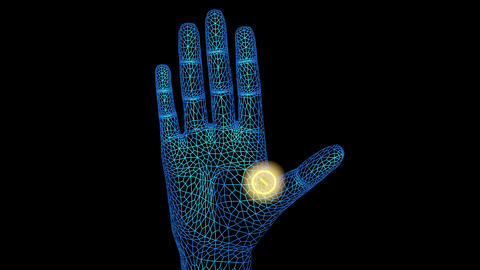 Glowing Implant inside hand , 3d animation Animation