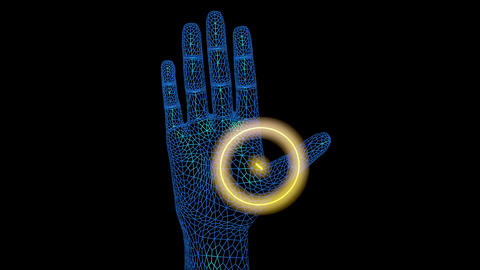 Glowing Implant inside hand with wifi signal. 3d animation Animation
