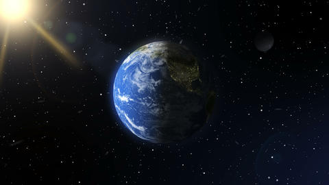 A view of the earth from outer space. A realistic planet. Elements of this image GIF