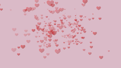 Soaring hearts on a pink background. Abstract background Animation