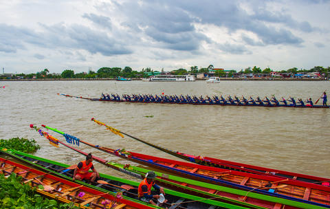 Traditional Boat Race Master of the River Annual Chao Phraya River Fotografía