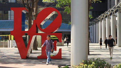 LOVE sculpture left position near Scramble crossing at West Shinjuku Footage