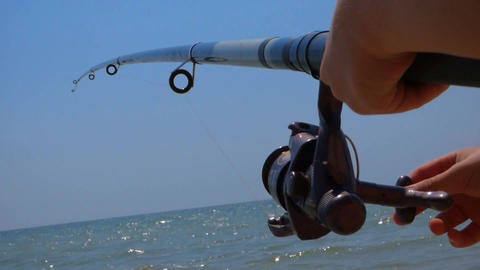 Fishing reel scaffold fisherman Footage