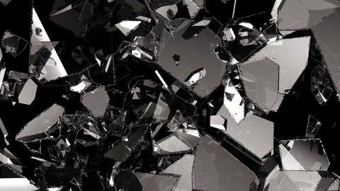 Glass shattered and broken in slow motion. Alpha matte. 3d render. 3d animation Animación