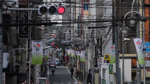 Electric line long shot at Misakicho street in Hachiouji ビデオ