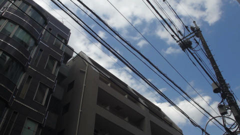 Electric line with building wide shot deep focus at Hachiouji ライブ動画