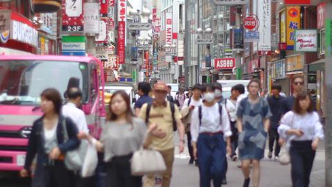 Center Street including signboard at Shibuya daytime shallow focus ビデオ