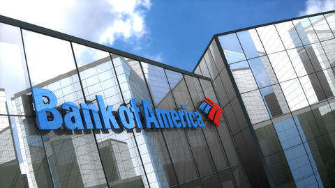 Editorial Bank of America logo on glass building Animation
