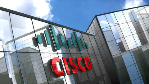 Editorial Cisco logo on glass building Animation