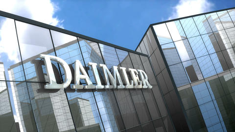 Editorial Daimler AG logo on glass building Animation