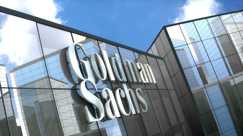 Editorial, The Goldman Sachs Group Inc. logo on glass building Animation