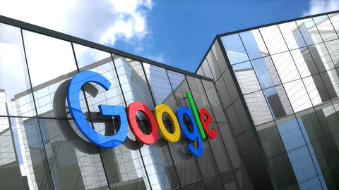 Editorial, Google logo on glass building Animation