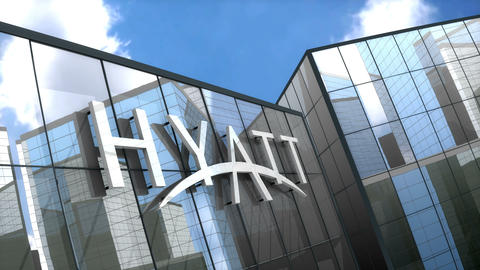 Editorial, Hyatt Hotels Corporation logo on glass building Animation