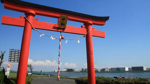 Peace big torii near Haneda Airport middle shot Live Action