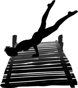 Woman exercising on pier Vector