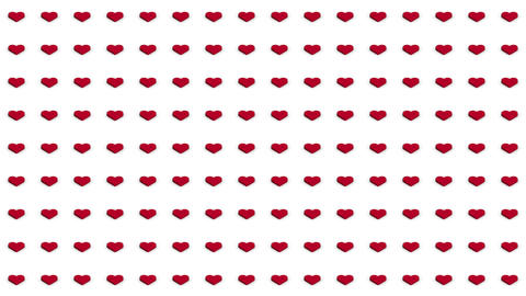 Romantic isometric background red hearts motion up and down Animation