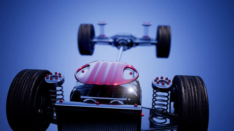 car chassis with engine and wheels Live Action