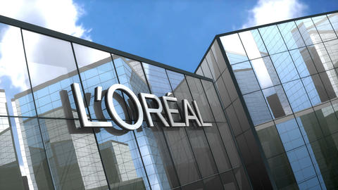 Editorial Loreal logo on glass building Animation