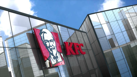 Editorial KFC logo on glass building Animation