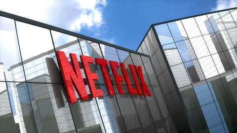 Editorial, Netflix logo on glass building Animation