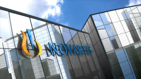 Editorial Novartis logo on glass building Animation