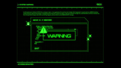 Green HUD Server Warning Interface Graphic Element Animation