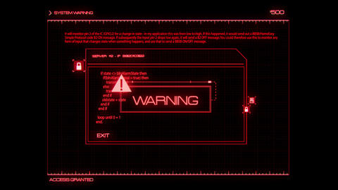 Red HUD Server Warning Interface Graphic Element Animation