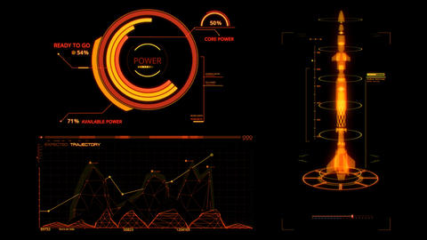 Orange HUD Rocket Missile Interface Graphic Element Animation