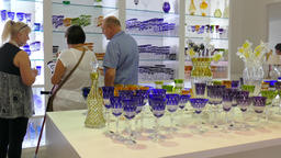 Glassware shop. People buying glass ware Footage