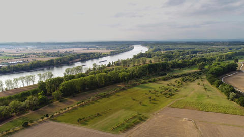 Aerial panoramic view of Rhine river and agricultural area in Hesse, Germany 영상물