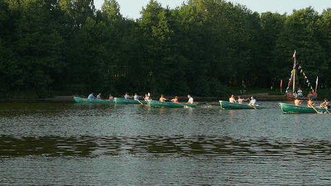 rowing boats teamwork sport Live Action
