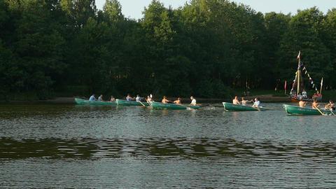 rowing boats teamwork sport Footage